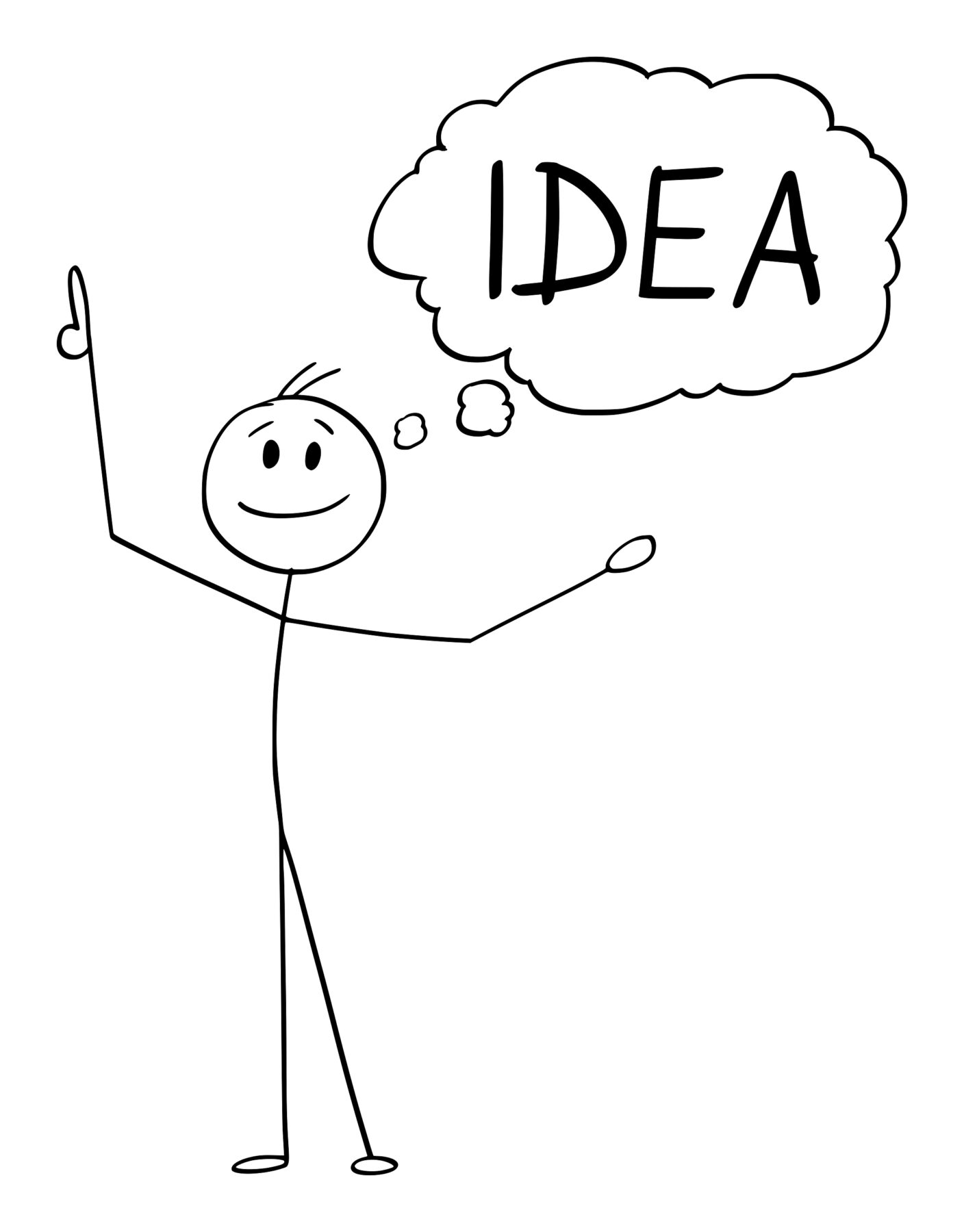 Cartoon stick figure drawing conceptual illustration of happy smiling man or businessman who just got an idea.