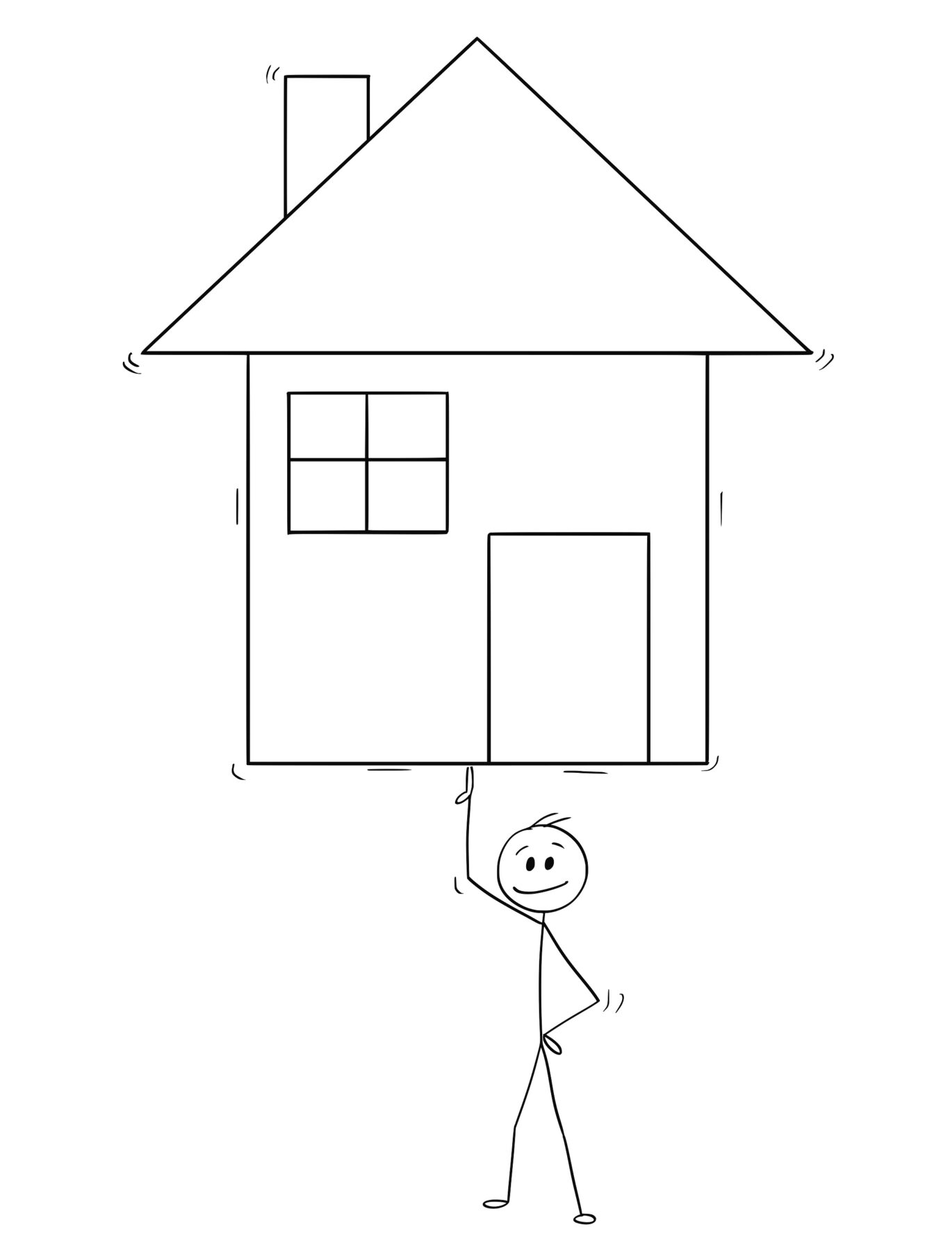 Cartoon stick man drawing conceptual illustration of businessman balancing family house on one finger. Business concept of easy property leasing, mortgage or real estate investment.