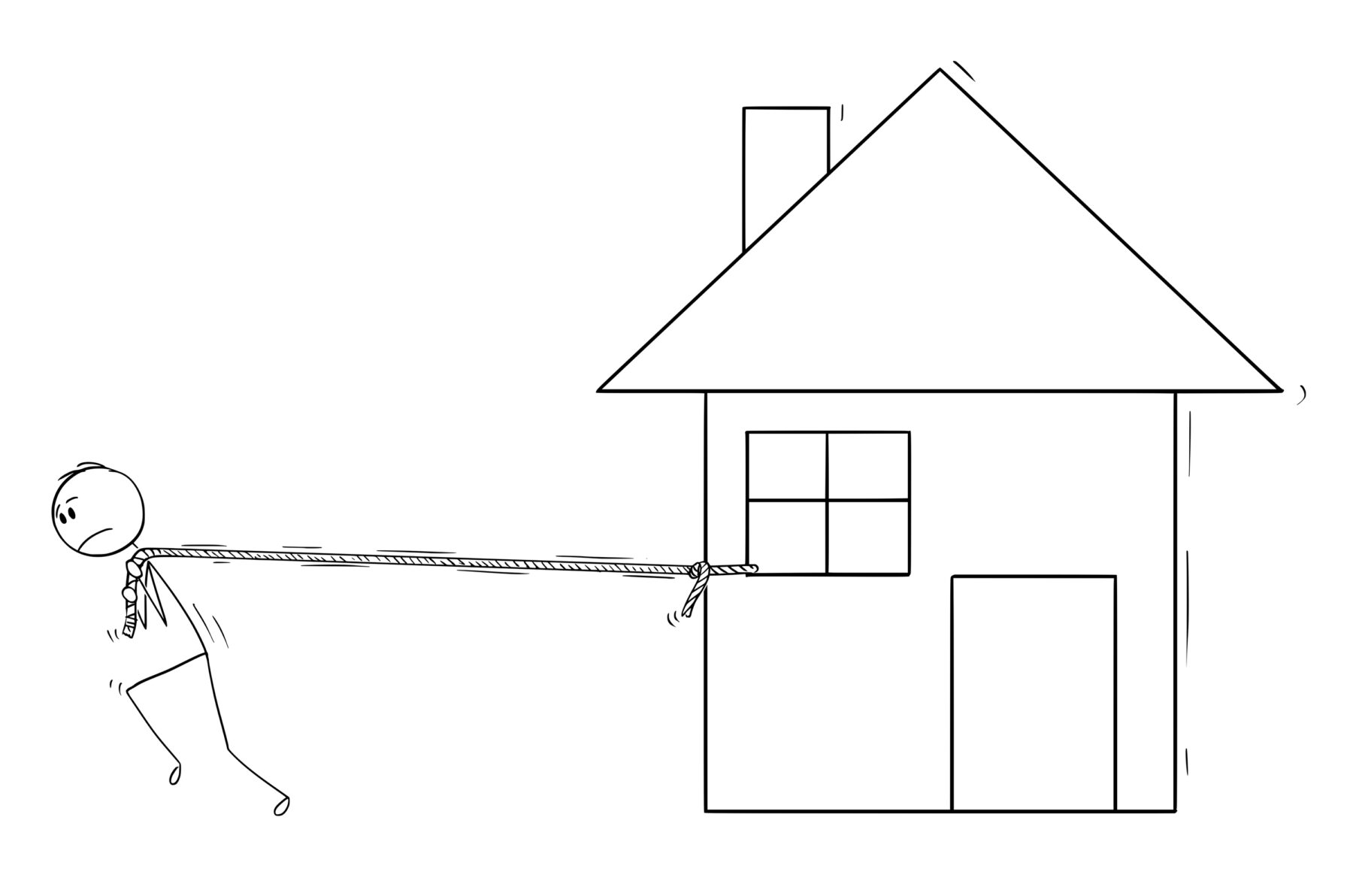 Cartoon stick drawing conceptual illustration of man pulling the family house as property expenses load concept.