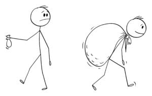 Cartoon stick figure drawing conceptual illustration of businessman holding small bag and looking at another man carrying big bag of money.