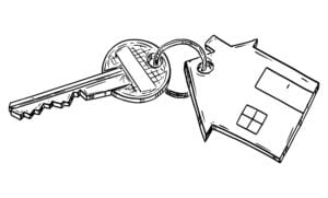 Vector cartoon drawing conceptual illustration of home key with family house keyring.Renting, buying or owning house or apartment.
