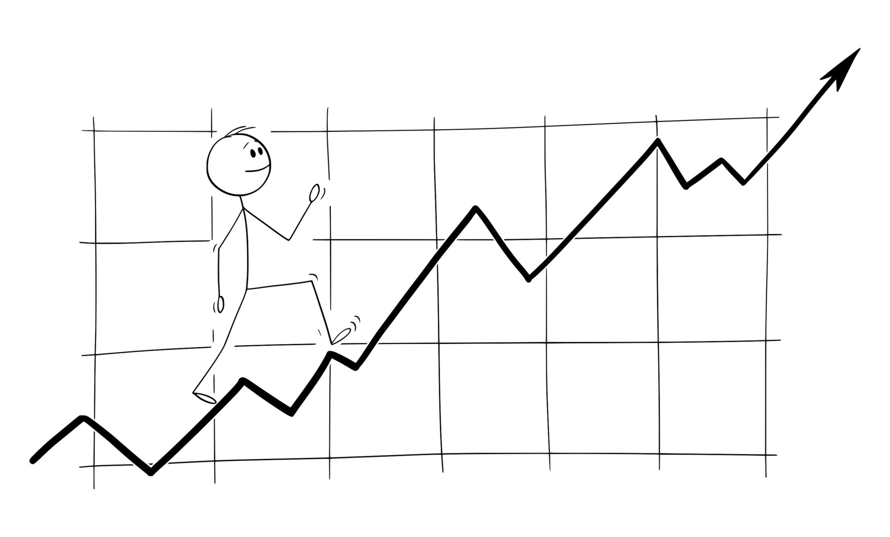 stickman illustration walking up investment earnings chart