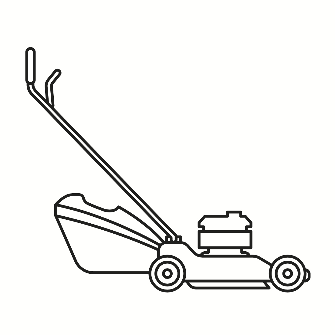 Simple line drawing of a walk-behind lawn mower