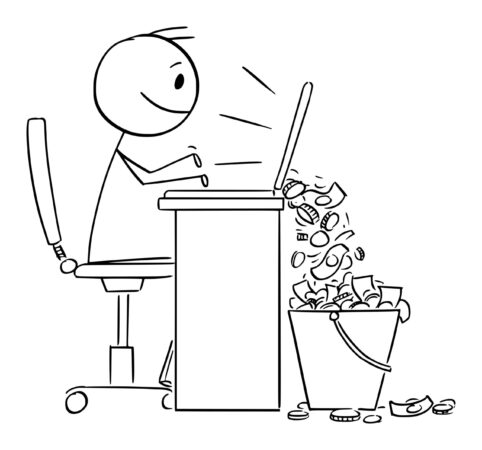 Stickman-happy-working-computer-money-falling-into-pail