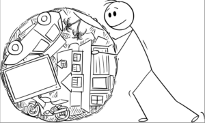 stickman pushing ball of clutter and stuff