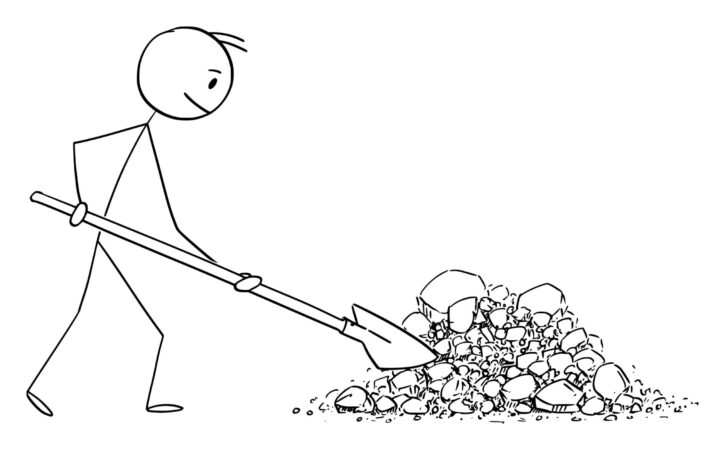 stickman shovelling dirt and rocks in garden ready to plant shrubs