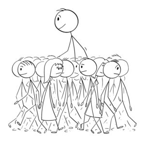 Tall-stickman-happy-walking-above-the-crowd