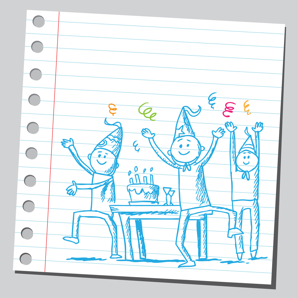 Drawing of a people having a party