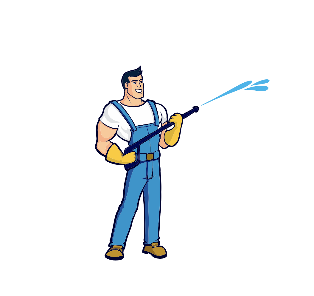 Illustration-man-using-pressure-washer