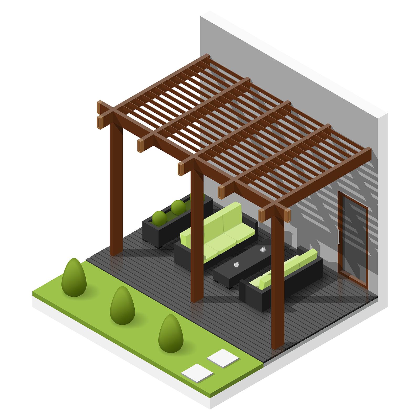 illustration of backyard relaxing gazebo outdoor space
